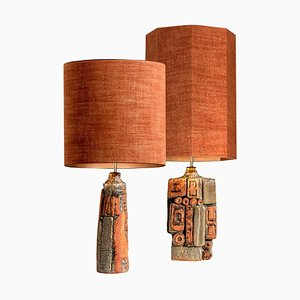 Ceramic Table Lamps by Bernard Rooke with Custom Made Shades by René Houben, 1960s, Set of 2