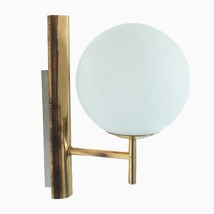 Brass and Glass Wall Light, 1960s