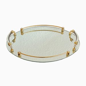 Vintage Golden Tray with Mirror Edge
