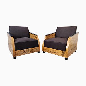 Art Deco Club Chairs in Polished Burr Wood, 1930s, Set of 2