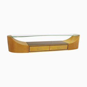 Art Deco Wall Console with Glass Top, 1930s