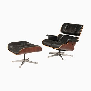 670 Lounge Chair and 671 Ottoman by Charles and Ray Eames for ICF, 1970s, Set of 2