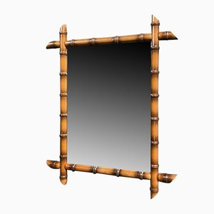 Large Faux Bamboo Mirror with Light Frame