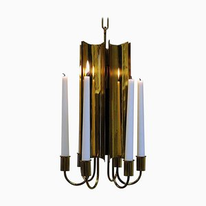 Brass Candleholder Chandelier by Pierre Forsell for Skultuna, Sweden, 1960s