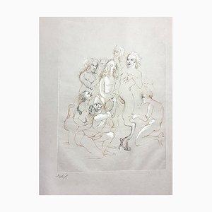 Orgy Lithographie von Leonor Fini, 1982
