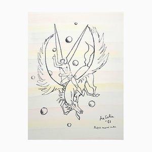 Litografia Pegasus colorata a mano di Jean Cocteau, 1956