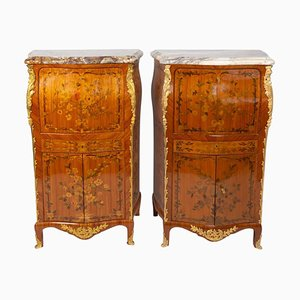 Louis XV Style Rosewood Ladies Secretaries, Set of 2
