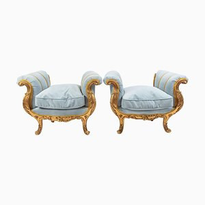 Napoleon III Golden Wooden Benches, Set of 2