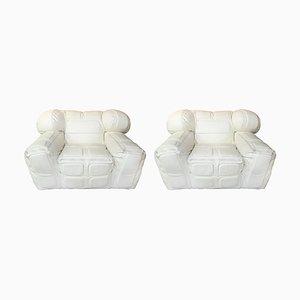 Paar Armlehnstühle aus weißem Leder von Arik Ben Simhon, 2002, 2er Set