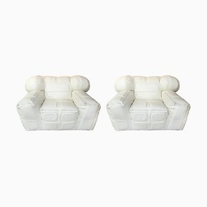 Pair of White Leather Armchairs by Arik Ben Simhon, 2002, Set of 2