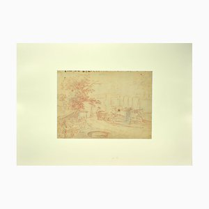 Jan Peter Verdussen, Landscape, 18th Century, Original Sanguine Drawing