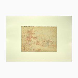 Jan Peter Verdussen, Landschaft, 18. Jahrhundert, Original Sanguinine Zeichnung