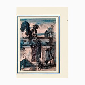 Eugène Berman, Homesickness, 1942, Original Ink and Watercolor