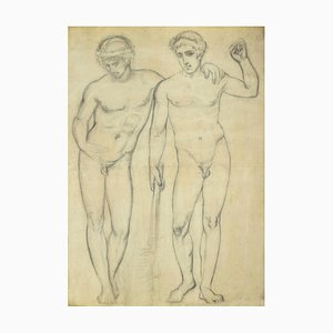 Figuren, Original Bleistiftzeichnung, 20. Jahrhundert