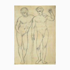 Figures, Original Pencil Drawing, 20th Century