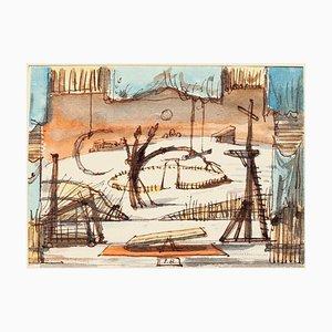 Eugène Berman, Szenografie, 20. Jahrhundert, Originaltinte und Wasserfarben auf Papier