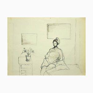 Burt Riley, Mädchen in einem Raum, 20. Jahrhundert, Original China Tusche Zeichnung