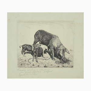 The Sow and Her Calves Etching, 1931