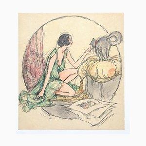 Woman Ink und Pastell auf Papier