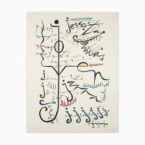 Letter J Lithograph by Rafael Alberti, 1972