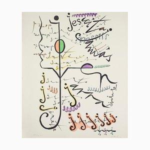 Lithographie Lettre J par Rafael Alberti, 1972