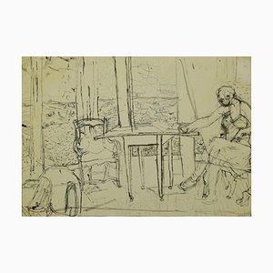 Interior Drawing In Bleistift und Tinte von Jeanne Daour