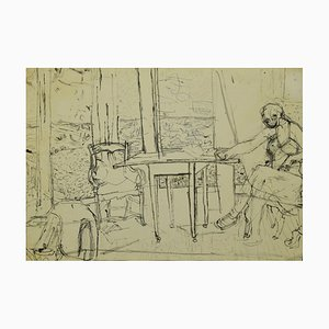 Interior Drawing In Pencil and Ink by Jeanne Daour