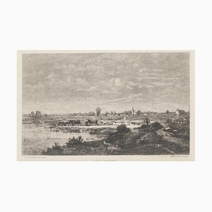 Les Marais -Etching by Maillart after T. Rousseau, 1880
