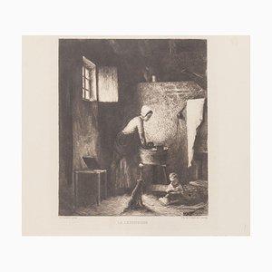 La Lessiveuse Radierung, 19. Jh. Von A. Decamps & Ch. Bourgeat