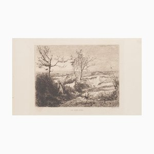 19th Century La Sablière Etching after C. Corot by G.M. Greux