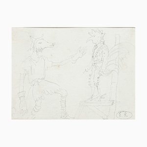 Original Szenografie Bleistift auf Papier von E. Berman