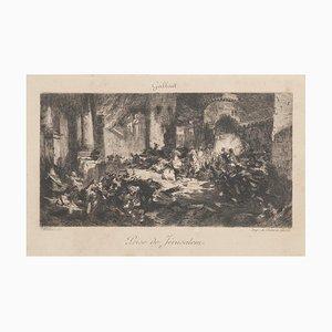 Prise De Jérusalem Original Etching by Felix Milius & A. Salmon
