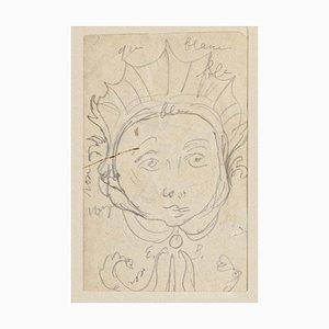 Figure in Mask Original Pencil on Paper by Eugène Berman