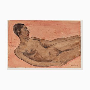 Nude Original Ink and Watercolor on Paper by Pierre Guastalla