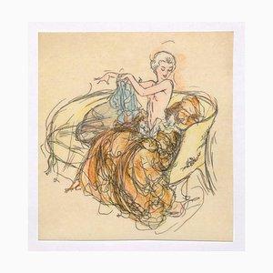 Frauenfigur Originaltinte und Pastell auf Papier