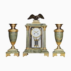 French Onyx 4-Glass Clock Set, Set of 3