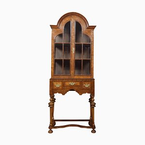 Walnut Queen Anne Style Display Cabinet