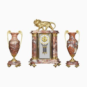 Late-19th Century French Rouge Marble 4-Glass Clock Set, Set of 3