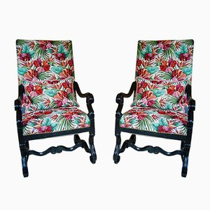 Vintage Large Chairs with Handmade Cushions, Set of 2