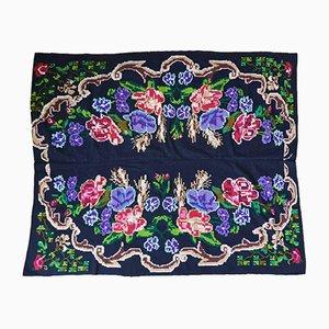 Vintage Romanian Floral Bedspread or Light Rug