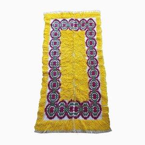 Romanian Yellow Fluffy Wool Runner Rug, 1940s