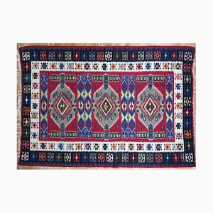 Large Vintage Romanian Handwoven Wool Kilim Rug