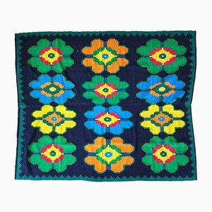Vintage Romanian Hand Woven Carpet with Wellow, Orange, Green & Blue Flowers