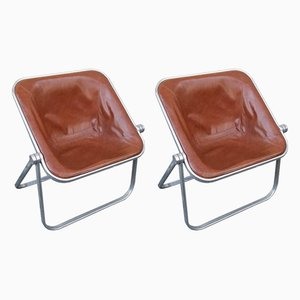 Italian Space Age Brown Leather Plona Folding Chairs by Giancarlo Piretti for Castelli, 1970s, Set of 2