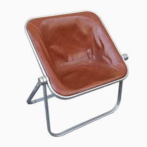 Italian Space Age Brown Leather Plona Folding Chair by Giancarlo Piretti for Castelli, 1970s