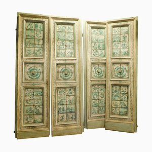Antiques Door with Majolica Hand-Paintings, Tuscany, Italy, 1700s