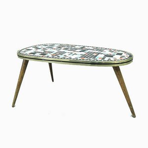 Vintage Tripod Side Table with Ceramic Mosaic Top, 1950s