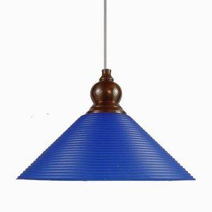 Blaue Trapp Deckenlampe aus Glas von Gamla Stans Lampfabrik, 1980er