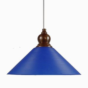 Blue Glass Trapp Ceiling Lamp from Gamla Stans Lampfabrik, 1980s