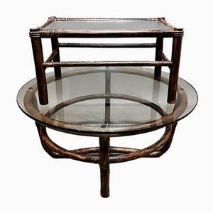 Mid-Century Glass and Rattan Coffee Tables, Set of 2